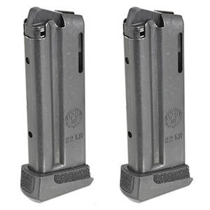 Ruger LCP II 10 Round Magazine .22 Long Rifle Extended Polymer Base Plate Steel  Blued Finish 2 Pack
