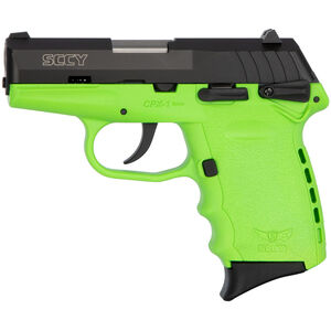 "SCCY CPX-1 9mm Luger Subcompact Semi Auto Pistol 3.1"" Barrel 10 Rounds Ambidextrous Safety Lime Green Polymer Frame with Black Slide Finish"