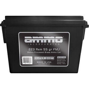 Ammo Inc Processed Brass .223 Rem Ammunition 200 Rounds 55 Grain FMJ 3201fps Remanufactured