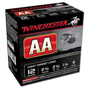 "Winchester AA Light 12 Gauge Ammunition 250 Rounds 2.75"" #9 Lead 1.125 Ounce AA129"