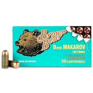 Brown Bear 9x18 Makarov Ammunition 50 Rounds, FMJ, 94 Grain