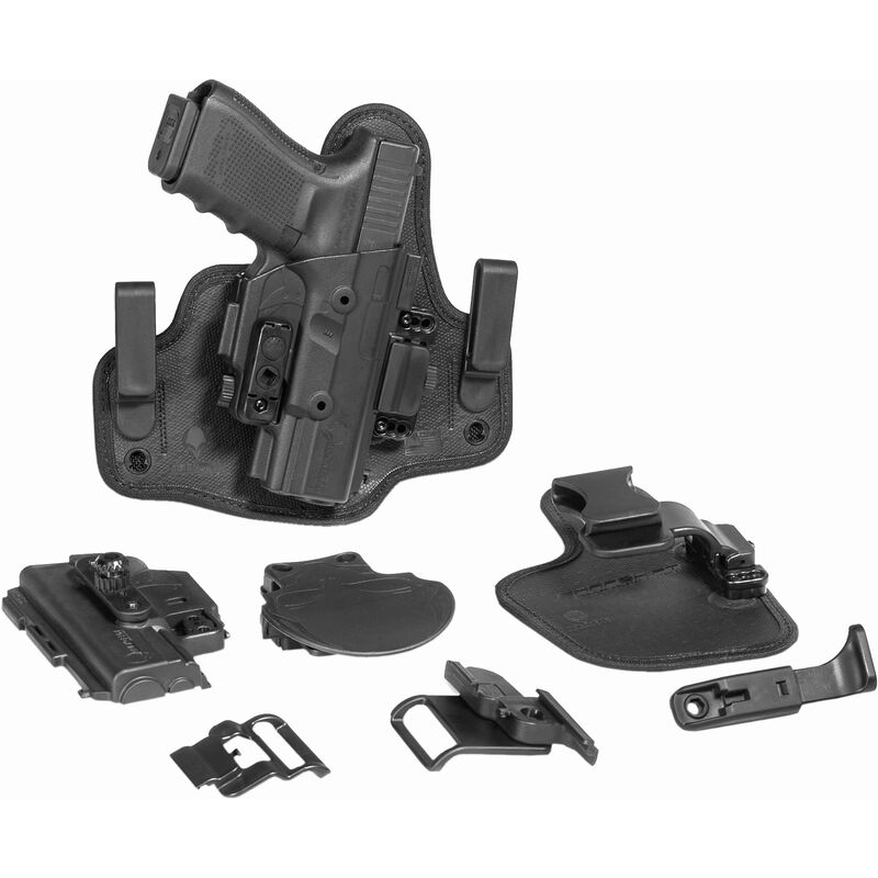 """Alien Gear ShapeShift Starter Kit Springfield XDS with 3.3"""" Barrel Modular Holster System IWB/OWB Multi-Holster Kit Right Handed Polymer Shell and Hardware with Synthetic Backers Black"""