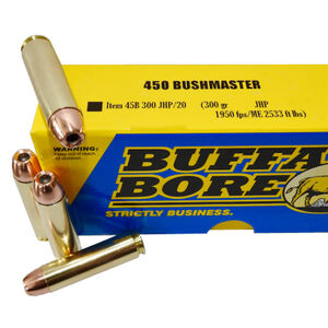 Buffalo Bore .450 Bushmaster Ammunition 20 Rounds JHP 300 Grains