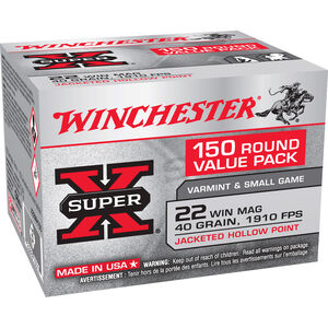 Winchester .22 Winchester Magnum Ammunition 150 Rounds JHP 40 Grains