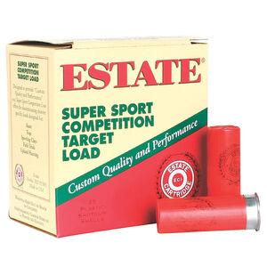 """Estate Cartridge Super Sport Competition Target Load 12 Gauge Ammunition 2-3/4"""" Shell #8 Lead Shot 1-1/8oz 1250fps"""