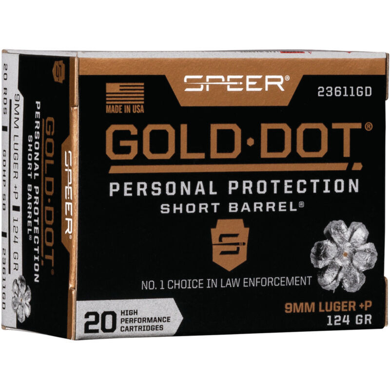 Speer Gold Dot Short Barrel Personal Protection 9mm Luger +P Ammunition 20 Rounds 124 Grain GDHP 1150fps