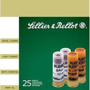"""Sellier & Bellot Rubber Ball 12 Gauge Ammunition 25 Rounds 2 3/4"""" 1 Ball 17.5mm SB12RBA"""