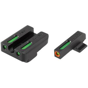 TRUGLO TFX Pro FN FNP-9/FNX-9/FNS-9 Front and Rear Set Green TFO Night Sights Orange Ring Steel Black TG13FN1PC