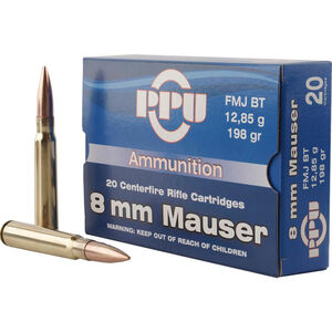 Prvi Partizan PPU Metric 8mm Mauser Ammunition 20 Rounds 198 Grain FMJ BT 2425fps