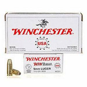 Winchester Winclean 9mm Luger Ammunition 50 Rounds, BEB, 115 Grains