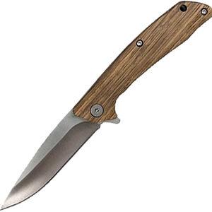"""ABKT Junior Roper Outlaw Knife 3.5"""" 8CR13MOV Blade Zebrawood Handle Liner Lock"""