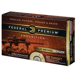 Federal Premium Gold Medal Berger 6mm Creedmoor Ammunition 20 Rounds 105 Grain Berger Hybrid OTMBT 3025 fps