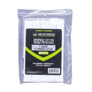 """Breakthrough Clean Technologies Square Cotton Patches 1"""" .22 to .243 Caliber 200 Pieces"""