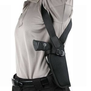 "BLACKHAWK! Vertical Shoulder Holster for 5 - 6.5"" Barrel Medium and Large Double Action Revolvers Right Hand Black"