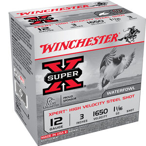 "Winchester Super-X Xpert High Velocity Steel Shot 12 Gauge Ammunition 25 Round Box 3"" #2 Steel Shot 1-1/16 oz 1650 fps"