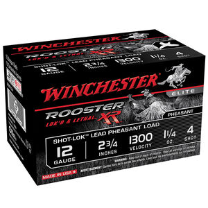 """Winchester Rooster XR 12 Ga 2.75"""" #4 Lead 1.25oz 15 rds"""