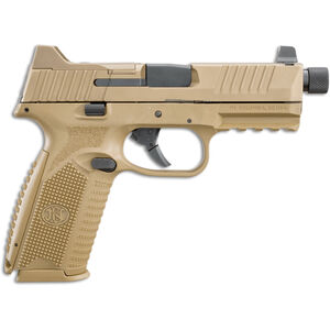"FNH FN-509 Tactical 9mm Luger Semi Auto Pistol 4.5"" Threaded Barrel 10 Rounds Ambidextrous Controls Night Sights Polymer Frame Flat Dark Earth"
