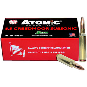 Atomic Ammunition 6.5 Creedmoor Subsonic 20 Rounds 130 Grain HPBT 1050fps