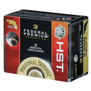 Federal Personal Defense HST Micro .38 Special +P Ammunition 20 Rounds JHP 130 Grains