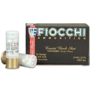 "Fiocchi Self Defense Buckshot 12 Gauge Ammunition 10 Rounds 2.75"" 00 Buckshot 9 Pellet Nickel Plated Lead 1325fps"