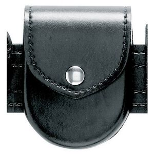 Safariland Model 90H Handcuff Pouch Top Flap Formed Hinged Cuff Only Brass Snap Hi-Gloss Black 90H-9B
