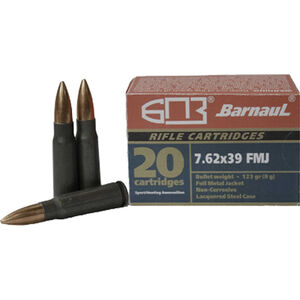 Barnaul 7.62x39mm Ammunition 500 Rounds 123 Grain Bi-Metal FMJ BT with Steel Case 2543fps
