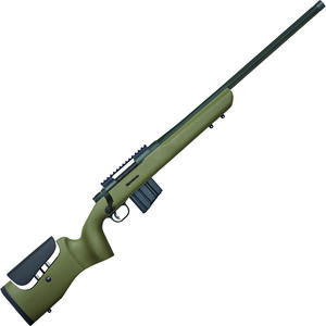 """Mossberg MVP LR .224 Valkyrie Bolt Action Rifle 20"""" Threaded Bull Barrel 10 Rounds Picatinny Rail Green Textured Stock with Adjustable Comb Blued Finish"""