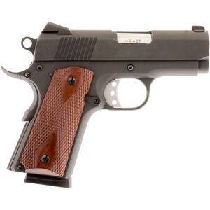 "American Tactical Imports Titan 1911 Officer Semi Auto Pistol .45 ACP 3.125"" Bull Barrel 7 Rounds Low Profile Sights Checkered Wood Grips Blued Finish ATIGFX45TIB"