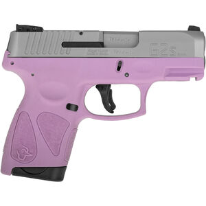 """Taurus G2S Slim 9mm Luger Semi Auto Pistol 3.2"""" Barrel 7 Rounds Single Action with Restrike 3 Dot Sights Thumb Safety Light Purple Polymer Frame Stainless Finish"""