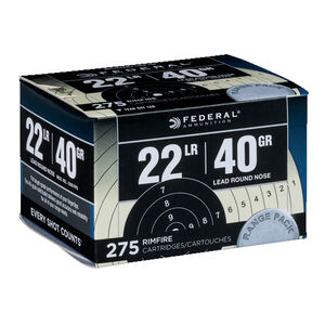 Federal Range & Field .22 Long Rifle Ammunition 275 Rounds LRN 40 Grains 729