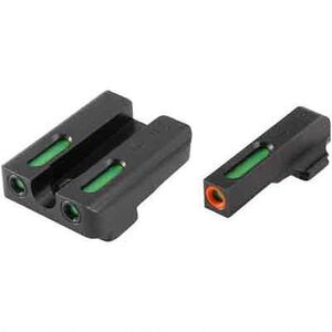 TRUGLO TFX Pro Walther CCP Front and Rear Set Green TFO Night Sights Orange Ring Steel Black