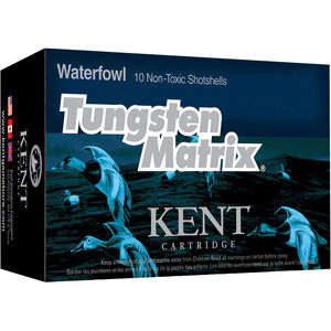 "Kent Cartridge Tungsten Matrix Waterfowl 20 Gauge Ammunition 10 Rounds 3"" Shell #3 Non-Toxic Lead Free Shot 1-1/8 Ounce 1360 fps"