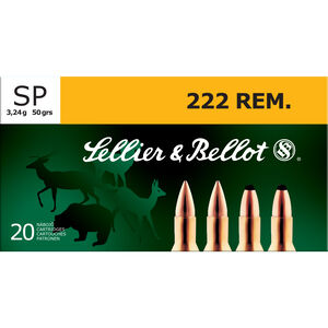 Sellier & Bellot .222 Remington Ammunition 20 Rounds SP 50 Grains SB222A