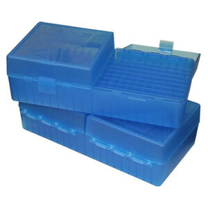 MTM Case-Gard P-200 Series Flip Top Small Rifle Ammo Box .204 Ruger/.223 rem/.300 AAC Blackout and Similar Rounds Holds 200 Rounds Clear Blue