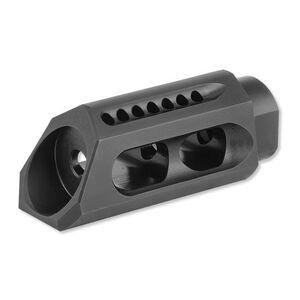 "Yankee Hill Machine AR-15 5.56/.223 Caliber Slant Muzzle Brake 1/2""x28 Thread Pitch Crush Washer Included Heat Treated Steel Melonite QPC Matte Black Finish"