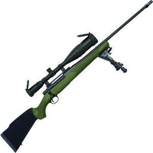 """Mossberg Patriot Night Train .300 Win Mag Bolt Action Rifle 24"""" Fluted Threaded Barrel 3 Rounds 6-24x50mm Scope OD Green Synthetic Stock Matte Blued Finish"""