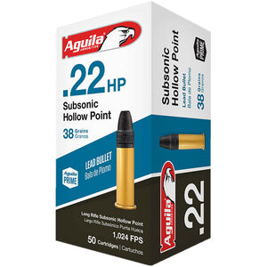Aguila Subsonic Hollow Point .22 LR Ammunition 50 Rounds 38 Grain HP 1024fps