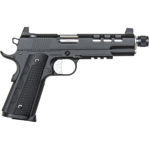 """Dan Wesson 1911 Discretion Government Semi Auto Pistol 9mm Luger 5.75"""" Threaded Barrel 10 Rounds Suppressor Height Night Sights G-10 Grips Stainless Steel Frame Black Duty Finish"""