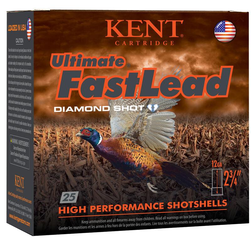 "Kent Cartridge Ultimate FastLead 12 Gauge Ammunition 2-3/4"" Shell #4 Lead Shot 1-3/8 oz 1475fps"