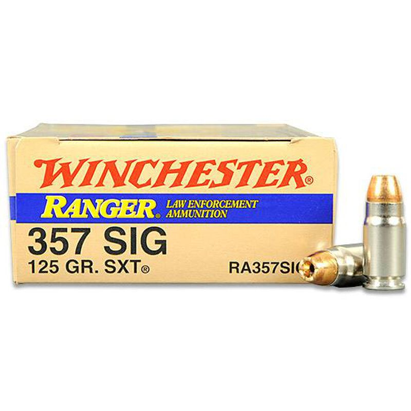 ammo 357 sig winchester 125 grain 50 rounds per box ranger sxt nickel cased marked le ammo 357 sig winchester 125 grain 50 rounds per box ranger sxt nickel cased marked le winra357sigt