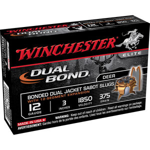 "Winchester Dual Bond 12 Gauge Ammunition 5 Rounds 3"" Sabot Slug 375 Grains SSDB123"