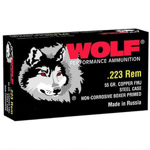 Wolf Performance .223 Remington Ammunition 55 Grain Bi-Metal FMJ Steel Cased 3130 fps