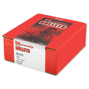 "Hornady 9mm Caliber .355"" Handgun Bullets 500 Count HAP HP 115 Grains 355281"