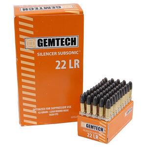 Gemtech Subsonic .22 LR Ammunition 50 Rounds 42 Grain Lead Round Nose 1020fps