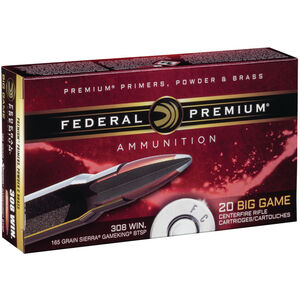 Federal Vital-Shok .308 Winchester Ammunition 20 Rounds Sierra GameKing SP 165 Grains P308C