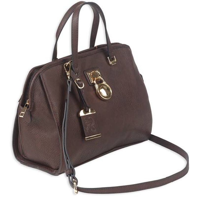 """Bulldog Cases Satchel Style Purse 16""""x9.5""""x5.5"""" Leather Chocolate Brown"""