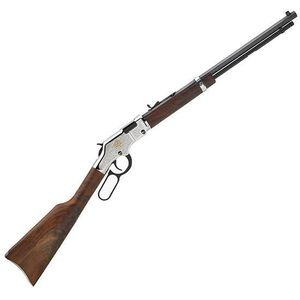 "Henry Repeating Arms American Beauty Lever Action Rifle .22 S/L/LR 20"" Barrel 16 Rounds Engraved Nickel Receiver Walnut Stock Blued H004AB"