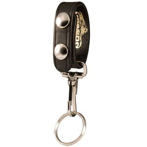 Boston Leather 5435 Belt Keeper with Key Ring Nickel Snaps Basket Weave Finish Leather Black 5435-3-N