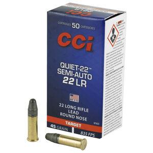 CCI Quiet-22 Semi Auto .22 Long Rifle Ammunition 50 Rounds 45 Grain Lead Rounds Nose 835fps