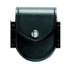 Safariland Model 90 Handcuff Pouch Top Flap Chrome Snap Basket Weave Black 90-4